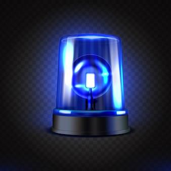 Lampeggiatore led blu realistico.