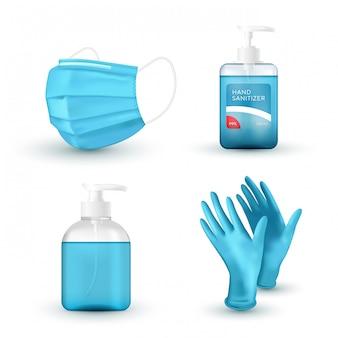 Maschera medica blu realistica, guanti in lattice medico, sapone per lavaggio a mano e disinfettante. protezione dal virus.