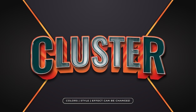 Realistico stile di testo blu e arancione con effetto texture plastica