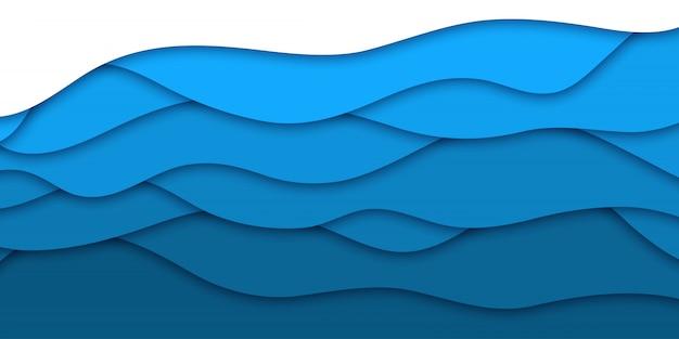Sfondo realistico strato di carta blu tagliato per la decorazione e la copertura. concetto di astratto geometrico.