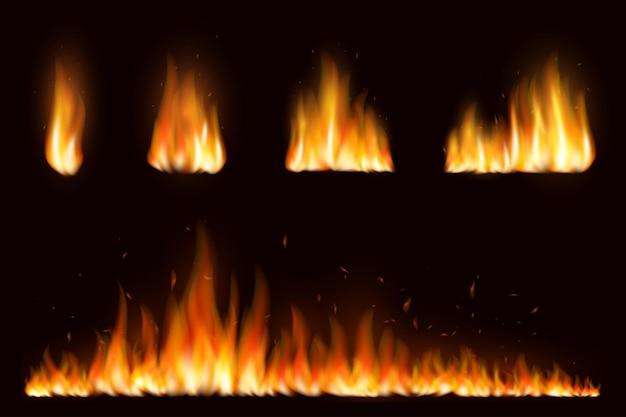 Fiamma di fuoco bon realistico con fumo orizzontale e scintille