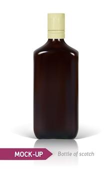 Bottiglia realistica di scotch su uno sfondo bianco con riflessi e ombre