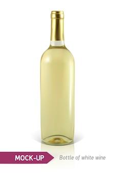 Bottiglia realistica di vino bianco su uno sfondo bianco con riflessi e ombre. modello per l'etichetta del vino.