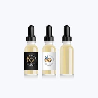 Bottiglia realistica con gusto cocco per una sigaretta elettronica. flacone contagocce con etichette bianche o nere di design. illustrazione.