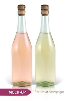 Bottiglie realistiche di champagne su uno sfondo bianco con riflesso e ombra. modello per l'etichetta.