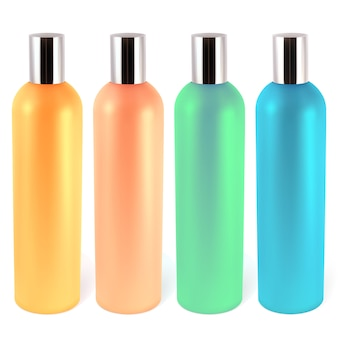Bottiglie realistiche per shampoo, balsami, lozioni. l'illustrazione contiene la maglia del gradiente.
