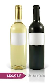 Bottiglie realistiche di vino bianco e rosso su uno sfondo bianco con riflesso e ombra. modello per l'etichetta del vino.