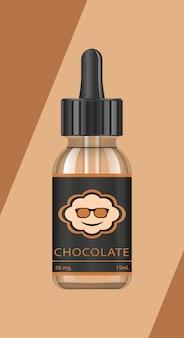 Bottiglie realistiche con gusti per una sigaretta elettronica con diversi gusti di frutta. flacone contagocce con liquido per vape. il gusto del cioccolato.