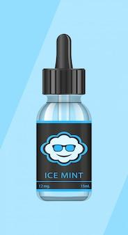 Bottiglie realistiche con gusti per una sigaretta elettronica con diversi gusti di frutta. flacone contagocce con liquido per vape. il gusto della menta ghiacciata.