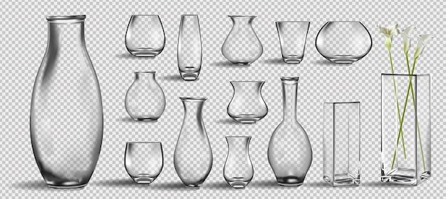 Realistico mazzo di fiori in un bicchiere d'acqua mockup realistico di vaso di vetro vuoto