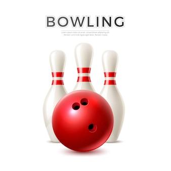 Palla da bowling realistica su sfondo di birilli