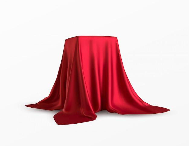 Scatola realistica coperta con un panno di seta rossa Vettore Premium