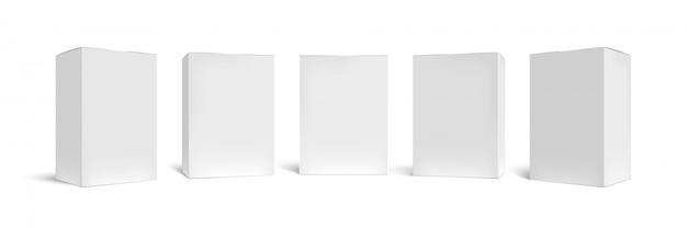 Scatola realistica. scatole da imballaggio rettangolari, cartone bianco e set di modelli 3d in confezione verticale vuota. imballaggio quadrato chiuso, contenitori di cartone, raccolta di casse di merci