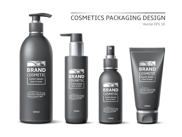 Bottiglie cosmetiche di marca realistiche. design minimalista di contenitori neri etichettati, pacchetti di prodotti di bellezza, pompe e prototipi di spray. insieme di vettore