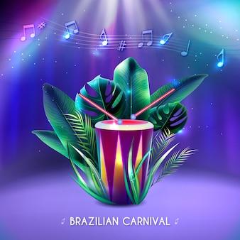 Carnevale brasiliano realistico con strumento musicale