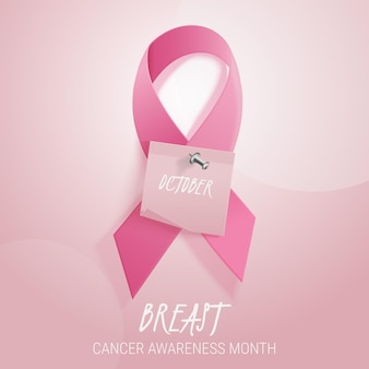 Illustrazione realistica del mese di consapevolezza del cancro al seno