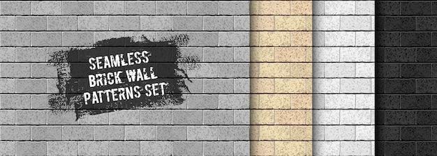 Insieme del reticolo senza giunte del muro di mattoni realistico. sabbia gialla, grigia, trama di mattoni neri