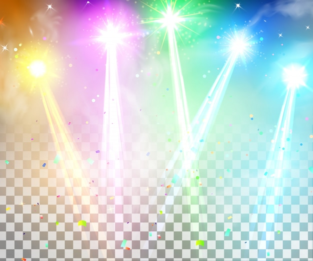 Proiettori luminosi realistici per illuminazione scenica isolati. sfondo colorato luci di scena, spettacolo di carnevale. effetti di luce speciali.