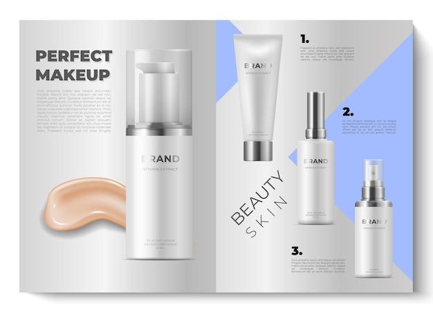 Design brochure realistico. 3d mock up riviste cosmetiche aperte. catalogo di bellezza. i cosmetici di illustrazione di disegno vettoriale pubblicizzano il prodotto con effetto bokeh su sfondo grigio