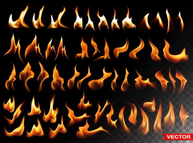 Il fuoco ardente realistico fiammeggia elementi luminosi