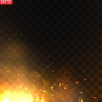 Realistico fuoco ardente fiamme effetto con trasparenza