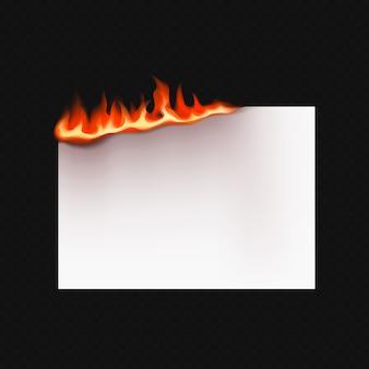 Carta bruciante realistica