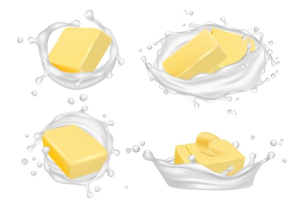 Burro realistico e schizzi di latte. burro cremoso isolato su sfondo bianco.