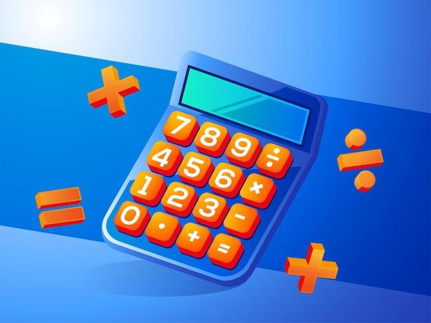 Illustrazione del concetto di calcolatrice realistica