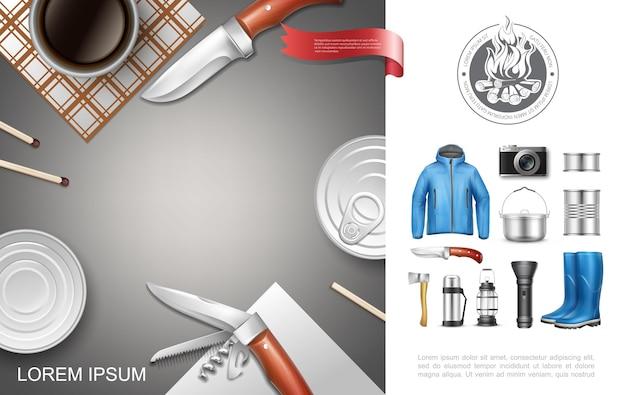 Realistico campeggio e concetto di turismo con giacca di cibo in scatola stivali di gomma coltello ascia torcia lanterna thermos cottura pan camera partite