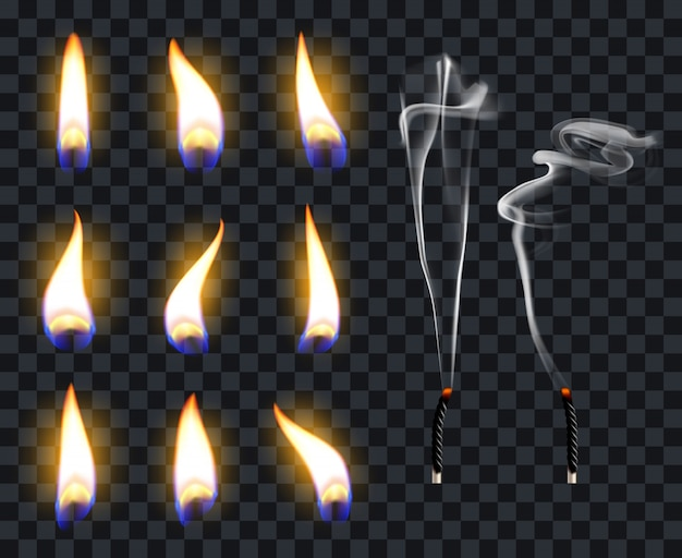 Fiamme di candela realistiche. fiamma di fuoco a lume di candela, candele a caldo. il fuoco trasparente illumina l'insieme di simboli dell'illustrazione delle fiamme. luce calda che brucia, che brucia illumina lo stoppino
