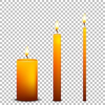 Icona di candela realistica impostata su sfondo trasparente. modelli.