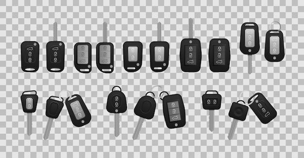 Colore nero realistico delle chiavi della macchina isolato su priorità bassa bianca Vettore Premium