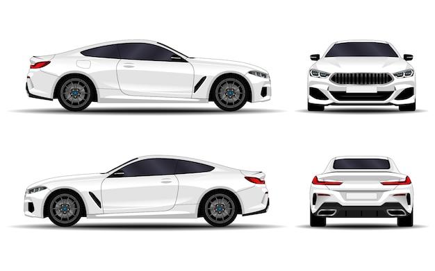 Macchina realistica. coupé sportiva. vista frontale; vista laterale; vista posteriore.