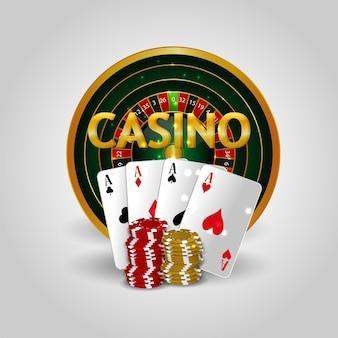 Sfondo realistico del casinò con slot del casinò con carte da gioco Vettore Premium