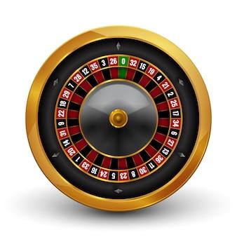 Ruota della roulette di gioco del casinò realistico isolata su priorità bassa bianca. giocare fortuna illustrazione della ruota della roulette.