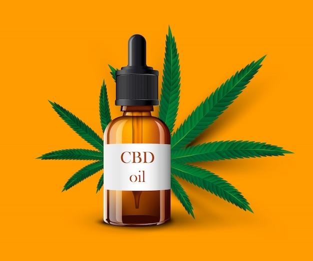 Realistica bottiglia di vetro a olio di cbd, foglia di cannabis