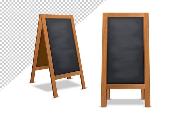 Lavagna realistica con cornice in legno isolata su sfondo trasparente