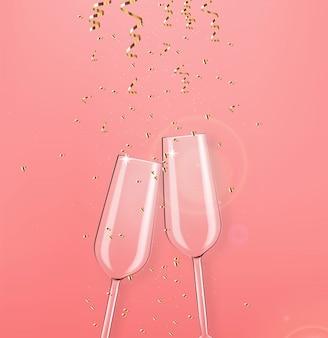 Bicchiere di champagne realistico, conffeti d'oro, festa, giorno di san valentino, carta di anniversario, illustrazione rosa del fondo