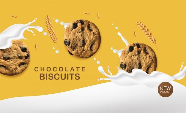 Biscotti al cioccolato realistici, biscotti di grano con latte spruzzato, delizioso dessert, illustrazione di prodotti da forno dolci