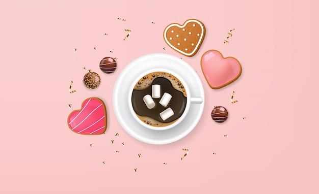 Realistico cioccolato, caffè e biscotti, san valentino, vendita di carte d'amore, deliziosi dessert, sfondo rosa, conffeti d'oro, concetto romantico