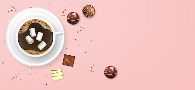 Realistica tazza di caffè e cioccolato, delizioso dessert, san valentino, amore, vista dall'alto collezione di praline di cioccolato, sfondo di cioccolato bianco e nero