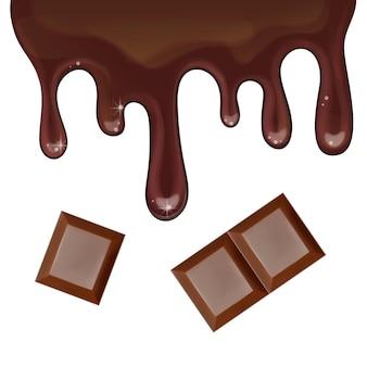 Illustrazione realistica del gocciolamento del cioccolato isolata Vettore Premium