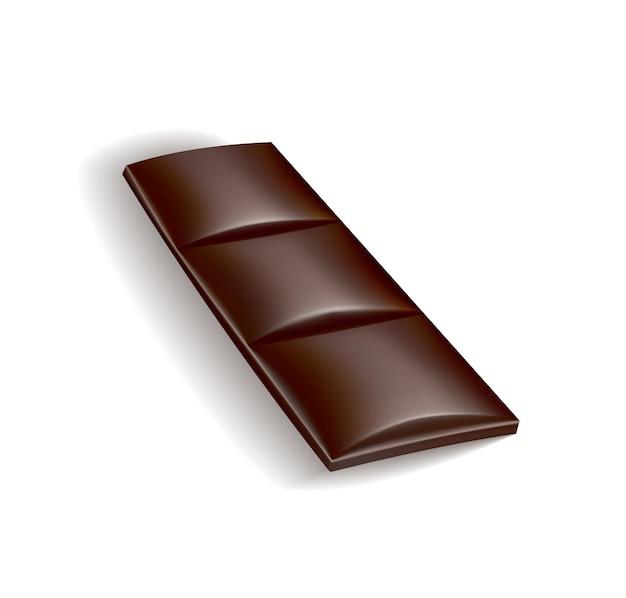 Pezzo di cioccolato realistico di cioccolato fondente o al latte. pezzetto di dolce al cacao o confetto quadrato al cioccolato. spuntino dolce di cibo isolato su sfondo bianco