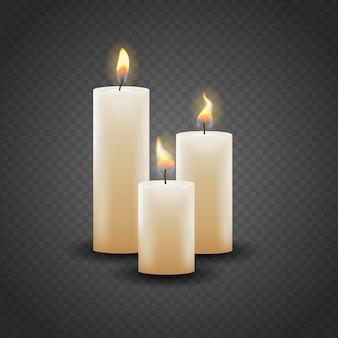 Collezione realistica di candele natalizie