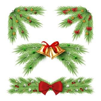 Collezione di decorazioni natalizie realistiche
