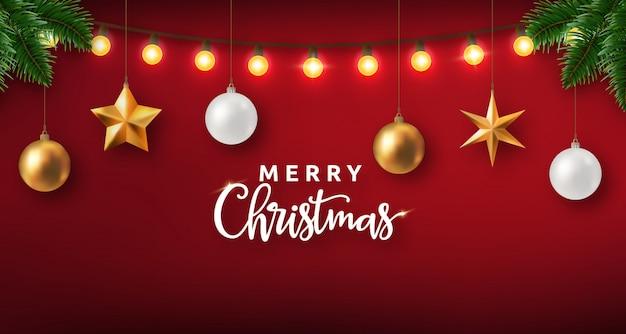 Realistico design natalizio con luci e decorazioni Vettore Premium