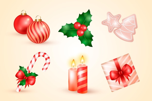 Collezione di elementi natalizi realistici
