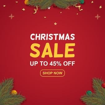 Banner di offerta speciale di vendita di natale realistico con regali e rami