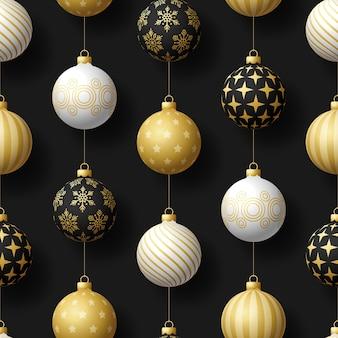 Modello senza cuciture di natale realistico con palla albero bianco e nero oro