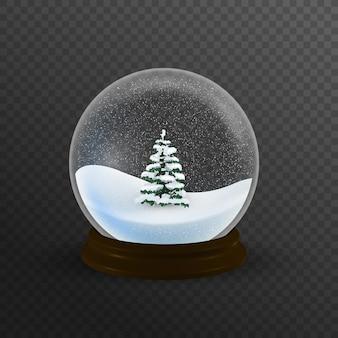 Realistico globo di neve di natale con albero di natale all'interno